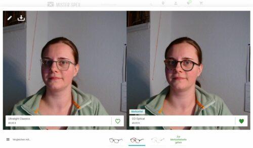 Zwei Bilder einer Frau nebeneinander mit einer virtuellen Brille
