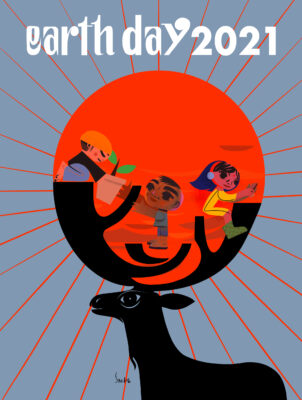 Artistic poster of the international Earth Day campaign 2021, showing a stag with a sun with working people in its antlers