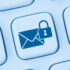 encrypted email icon on blue background