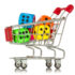 Shopping cart with colorful game cubes inside.