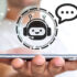 smartphone held in hand with an implied chatbot