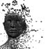 Dunkles Gesicht vor weißem Hintergrund, das in Kugeln zerfällt; copyright: PantherMedia / ralwel