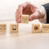 Hand setting down small wooden cubes with symbols for communication channels; copyright: panthermedia.net/Gajus-Images