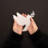 Two hands holding a white paper peace dove in front of a black background