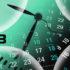An analog clock and calendar dates overlapping