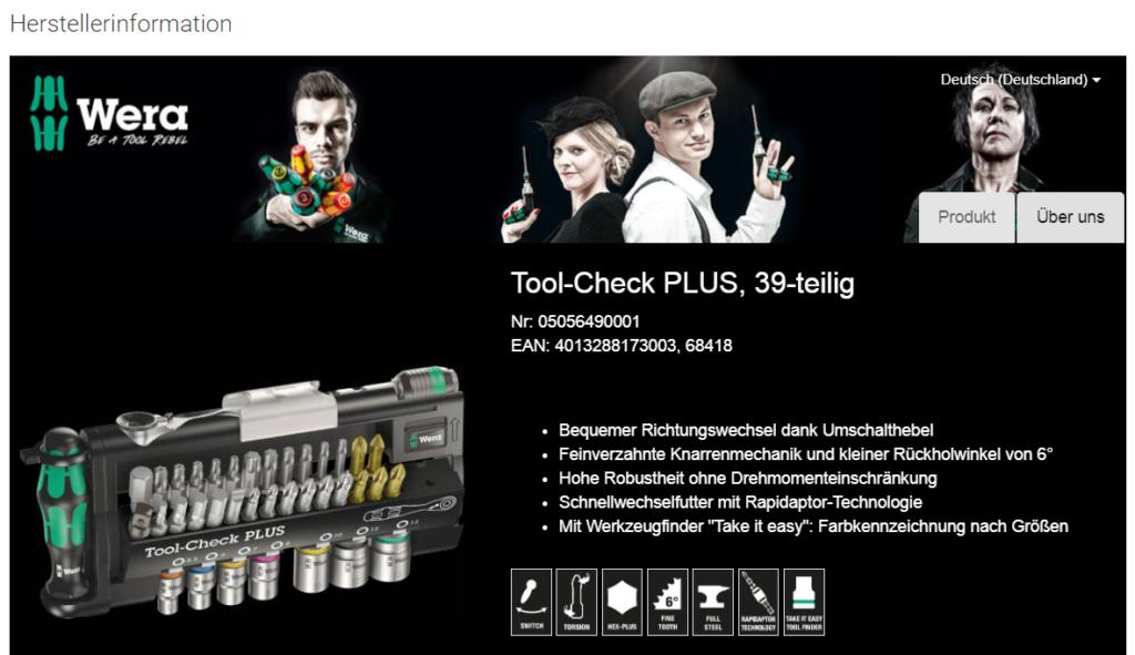Screenshot einer Seite eines Onlineshops für Werkzeuge mit Produktinformationen