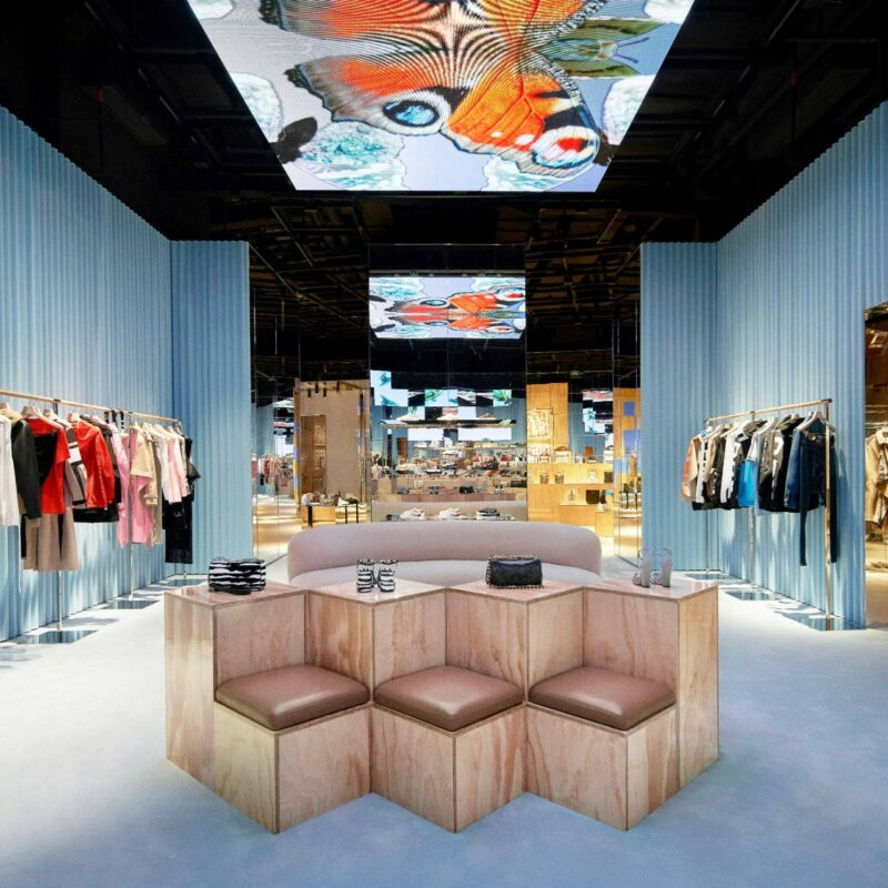 A part of a Burberry fashion store in Shenzhen with blue walls