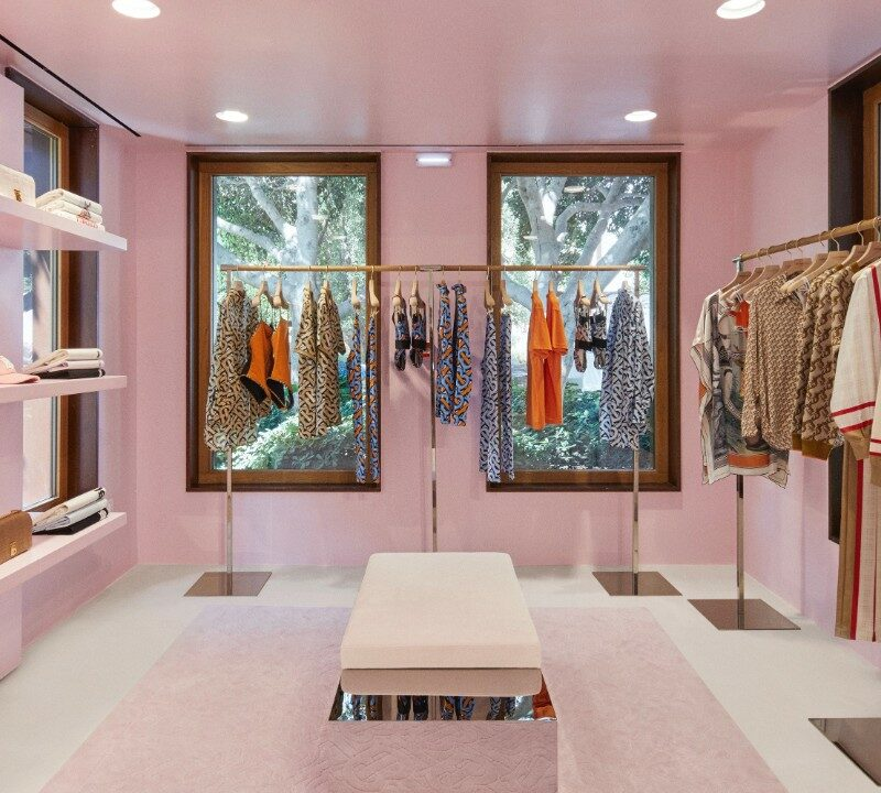 A part of a Burberry fashion store in Shenzhen with pink walls