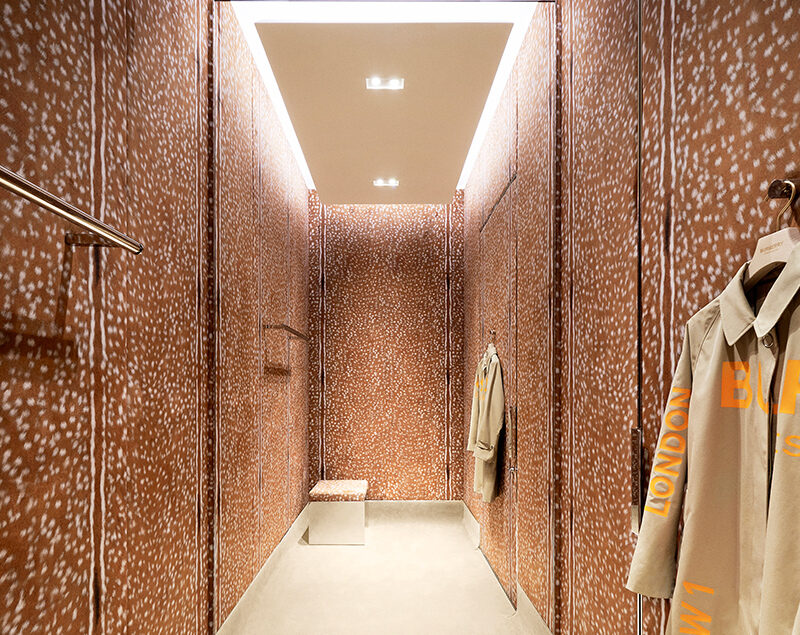 A modern dressing room with colorful walls