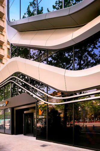 Close up of the sustainable D525 building in Barcelona